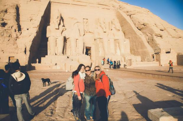 Heather, Autum and I in front of Abu Simbel Temple