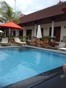 View of our hostel pool.