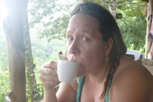 Autum trying the Kopi Luwak coffee. (Poop coffee)