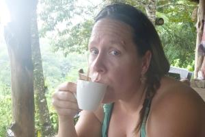 Autum trying the Kopi Luwak coffee. (Poop coffee)