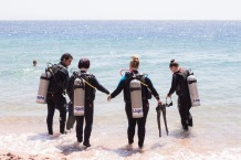 Top tier friends hold hands when they get in the water.